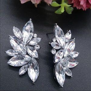 Crystal Cluster Stud Prom Bridal Earrings